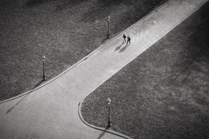 parc-lampadaires-ombres-noir-et-blanc